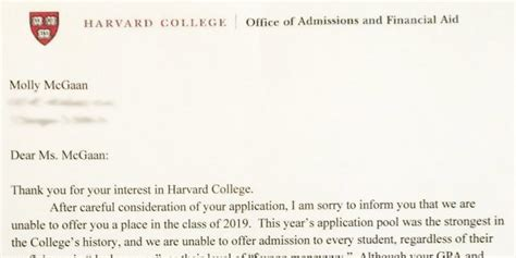 Decline Letter To College Admission Somebody Give This High Schooler An Award For Harvard Rejection Letter