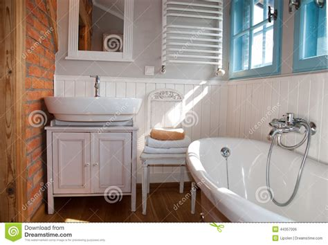white rustic bathroom white grey rustic bathroom with window stock photo image
