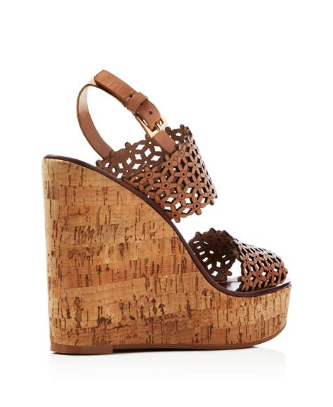 Sandal Burch Oasis 016 3 burch floral perforated cork wedge sandals in brown