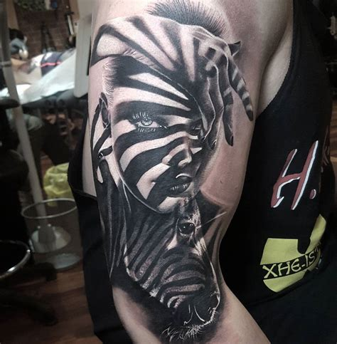 shadow tattoo s portrait zebra with shadows best design
