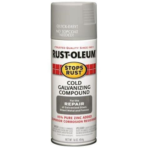 home depot zinc paint rust oleum stops rust 16 oz gray flat galvanizing