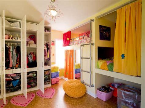 shared childrens bedroom ideas creative shared bedroom for three girls hgtv