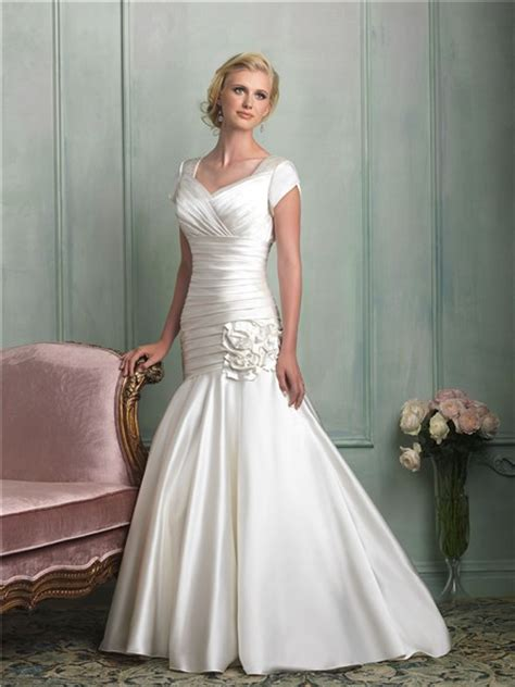 modest mermaid wedding dresses modest mermaid cap sleeve corset back ruched satin wedding