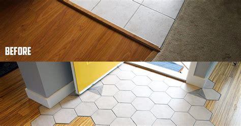Hexagon Tile Floor Transition Entrance   Hometalk