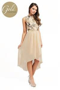 cream heavy embellished detail dipped hem dress