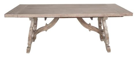 Extendable Trestle Table by Haute Gray Wash Rectangular Extendable Trestle Dining