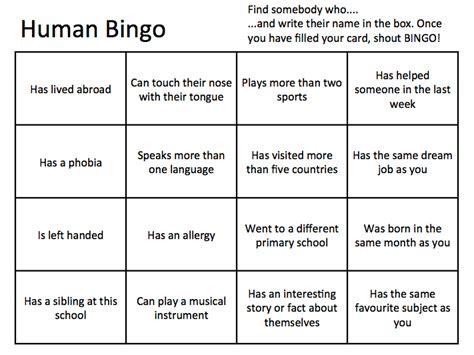 human bingo template human bingo new class form activity by fieldja