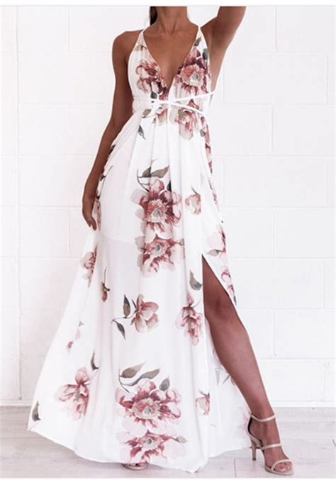 white floral spaghetti strap lace  side slit backless