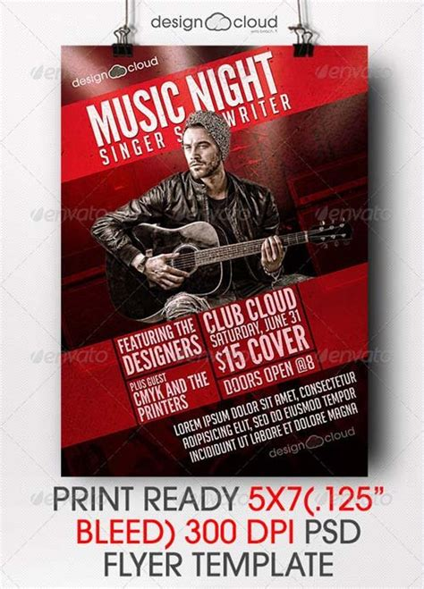 Flyer Templates Graphicriver Singer Songwriter Music Night Flyer Template Graphicflux Graphicriver Iii Flyer Template