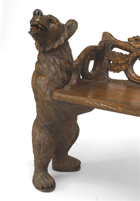 black forest bear bench 20th century continental black forest carved walnut bench