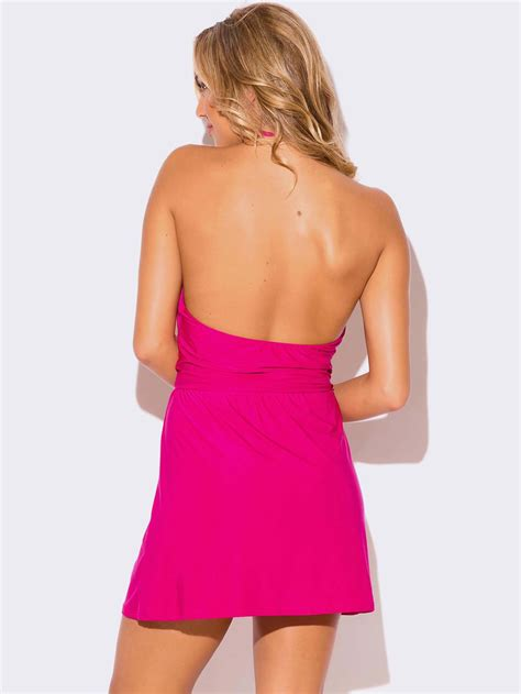 Hot Pink Wrap Front Halter Mini Dress