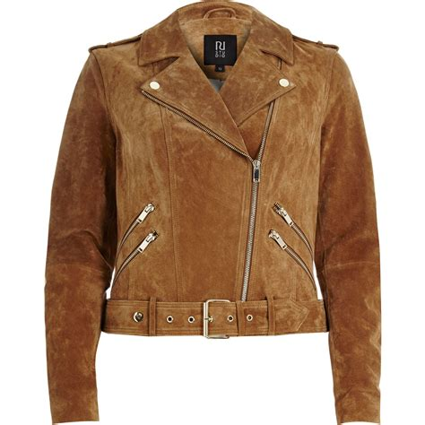 brown motorcycle jacket lyst river island brown suede biker jacket in brown