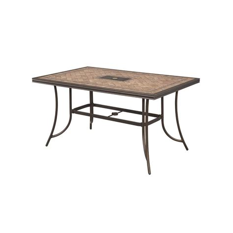 Table Patio Hton Bay Westbury Rectangular Tile Top Patio High Dining Table Anq05117k01 The Home Depot