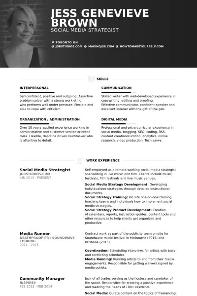 social media strategist resume sles visualcv resume