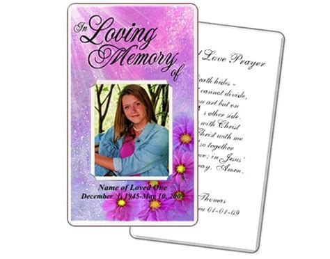 memorial cards for funeral template free memorial prayer cards sparkle floral printable diy prayer