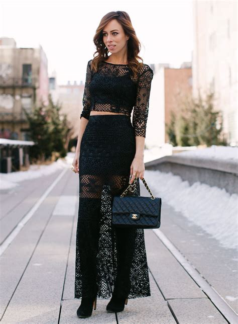 black lace crop top for maxi skirt