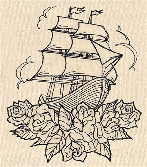 tattoo embroidery designs thread tattoos ship and roses threads unique and