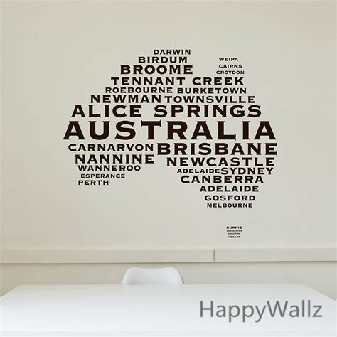 australian map wall sticker map of australia wall decal 3d