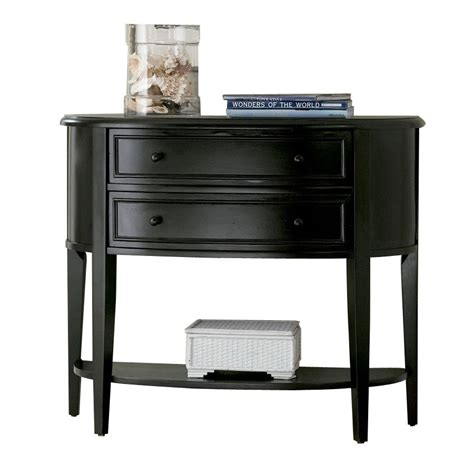sofa table black shop powell antique black rubberwood half round console