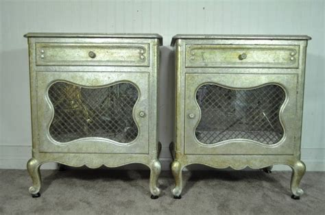 Silver Leaf Nightstand Pair Of Regency Silver And Gold Leaf Nightstands After Maison Jansen Image 2