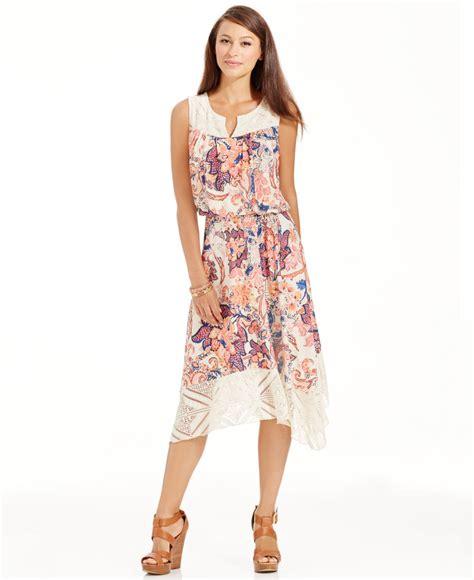 Lace Midi Dress Bysi lyst style co floral print lace midi dress