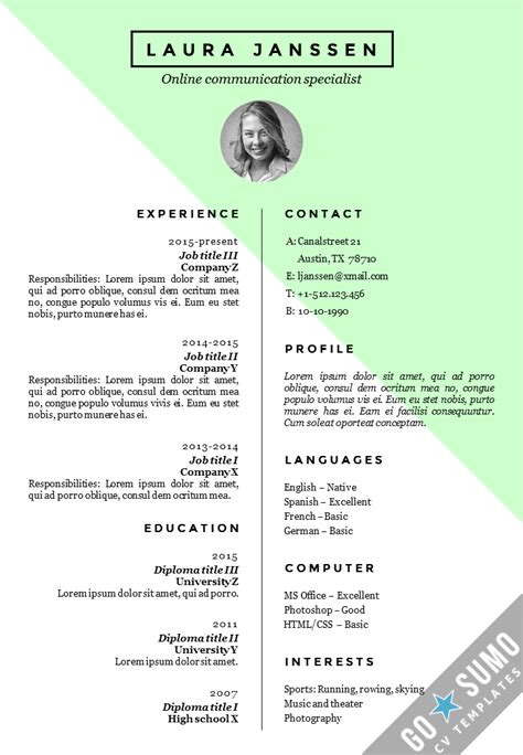 Resume Templates G by Cv Resume Template Stockholm
