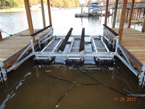 boat lift installation shore master boat lifts lake norman lkn rhino hoist