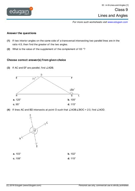class 9 math worksheets and problems lines and angles