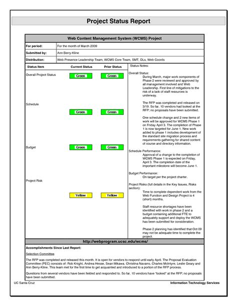 project management status report template pictures to pin
