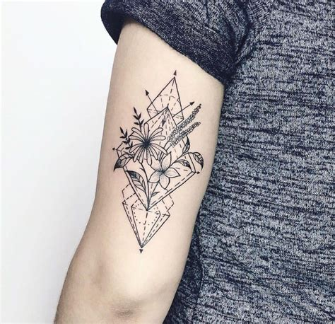 geometric flower tattoo geometric with flower and geometric
