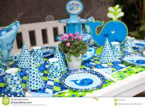 Nautical Theme Baby Shower Cakes - baby boy first birthday party outdoor table set stock photo image 45444472
