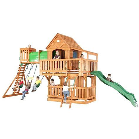 backyard imagination woodridge ii by backyard discovery wooden swingsets playsets backyard imagination