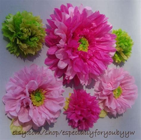 Large Tissue Paper Flowers - 6 large tissue paper flowers by