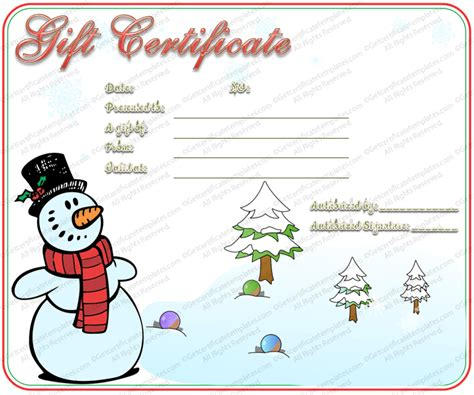 snowman christmas gift certificate template