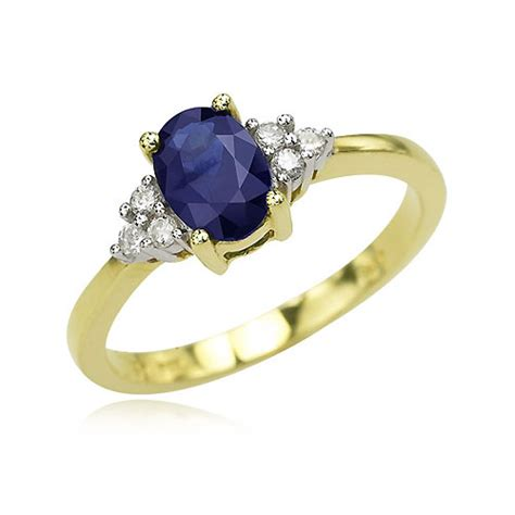 Blue Safir Sapphire 3 1ct 14k yellow gold oval sapphire cluster ring