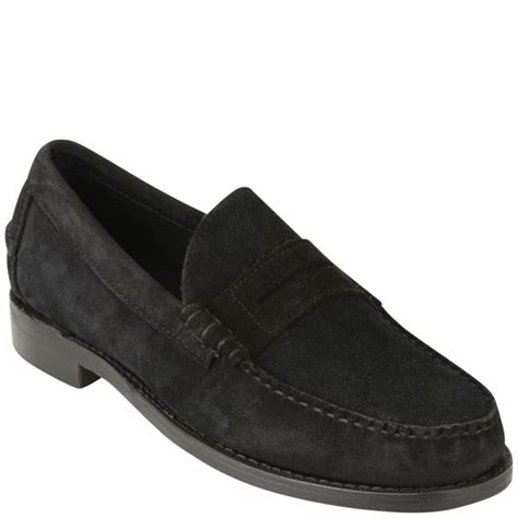 black suede mens loafers sebago mens classic suede loafers in black for lyst