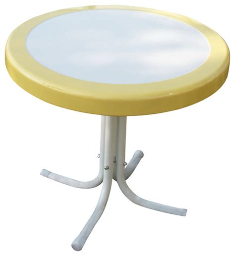Yellow Metal Side Table 4d Concepts Metal Retro Table In Yellow And White Metal Eclectic Side Tables End