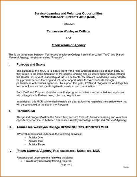 template for memorandum of understanding memorandum of understanding templatereference letters