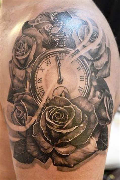 tattoos about time 61 stunning clock shoulder tattoos