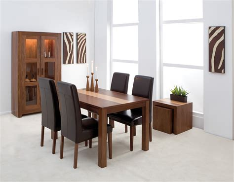Dark Italian Leather Upholstered Parsons Set Of Four Dining Room Table And Chair Set