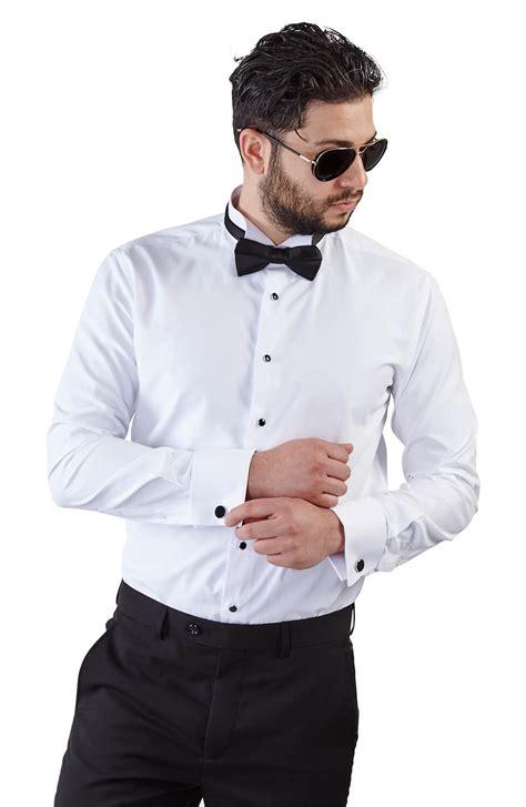 Tuxedo Shirt slim fit white wing tip cuff tuxedo shirt azar suits
