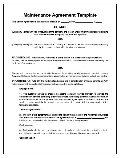 Maintenance Contract Agreement Free Printable Documents Free Electrical Service Contract Template