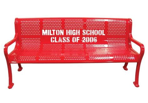 logo bench 5 custom perforated logo bench commercial site furnishings