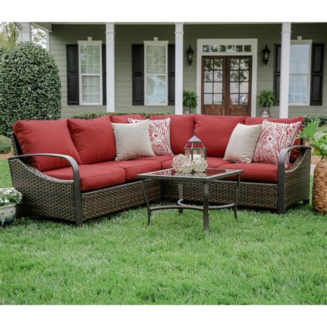 red outdoor sectional leisure made trenton 4 piece wicker outdoor sectional set