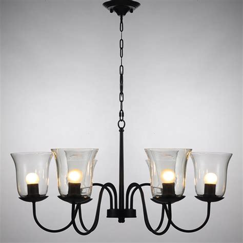 chandelier lshades northic country 6 clear glass shades iron chandelier 10344