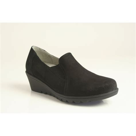 cut shoes for waldlaufer high cut wedge shoe in black nubuck leather