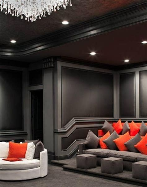 grey  black theater room home theater rooms home