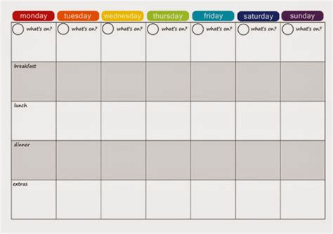 7 day weekly planner template calendar template 2016