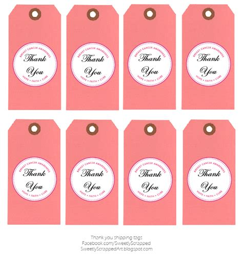 free printable thank you tags template sweetly scrapped breast cancer awareness free printables
