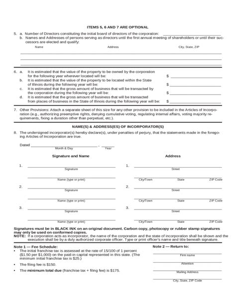 Illinois Report Template Articles Of Incorporation Illinois Free